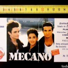 Entradas de Conciertos: ENTRADA MECANO CONCIERTO 1989 ZARAGOZA CONCIERTO ROMAREDA GRAN TAMAÑO. Lote 240266470