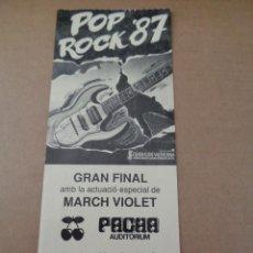 Entradas de Conciertos: ENTRADA TICKET CONCIERTO - POP ROCK 87 - PACHA VALENCIA - AÑO 1987 - ORIGINAL. Lote 244873375