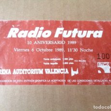 Entradas de Conciertos: ENTRADA CAPICUA Nº 1001 - TICKET MUSICA CONCIERTO RADIO FUTURA ARENA AUDITORIUM VALENCIA 1990. Lote 244879245