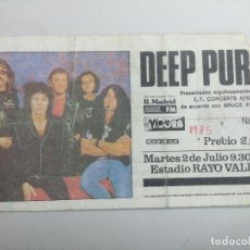 Entradas de Conciertos: ENTRADA DE CONCIERTO/DEEP PURPLE/ESTADIO RAYO VALLECANO 1985.. Lote 246042120