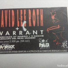 Entradas de Conciertos: ENTRADA DE CONCIERTO/DAVID LEE ROTH + WARRANT/PABELLON REAL MADRID 1990.. Lote 246042345