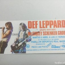 Entradas de Conciertos: ENTRADA DE CONCIERTO DEF LEPPARD + MC CAULEY SCHENKER GROUP/PABELLON REAL MADRID 1987.. Lote 246045910