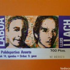 Billets de concerts: ENTRADA A CONCIERTO DE MIKEL LABOA Y LLUIS LLACH EN POLIDEPORTIVO ANOETA DE DONOSTI URRIAREN 14. Lote 247751420