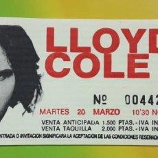 Entradas de Conciertos: ENTRADA LLOYD COLE, MARZO 1990, ARENA AUDITORIUM VALENCIA. Lote 248767755