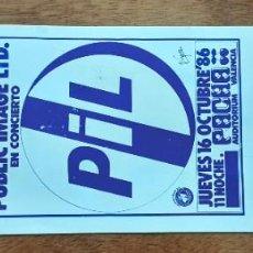 Billets de concerts: ENTRADA ORIGINAL PUBLIC IMAGE, PIL, OCTUBRE 1986, PACHA AUDITORIUM VALENCIA. Lote 249472280