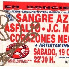 Biglietti di Concerti: ENTRADA 1991 - CONCIERTO DESPEDIDA DE LA EMISIÓN PIRATA. FIRMADA. Lote 252147525