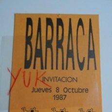 Entradas de Conciertos: VIP ENTRADA FLYER INVITACION EN LA DISCOTECA BARRACA -RUTA BAKALAO-DESTROY-VALENCIA 1987. Lote 253800340
