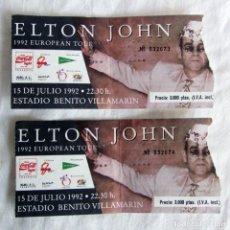 Entradas de Conciertos: 2 ENTRADAS CONCIERTO ELTON JOHN 1992 ESTADIO BENITO VILLAMARIN. Lote 253893745