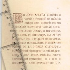 Entradas de Conciertos: 1913 AUDICIÓ MÚSICA ANTIGA EN UN MANOCOR (CLAVICORDI CATALÀ) PER EN JOAN SALVAT EL DIUMENGE 21-12. Lote 260402950