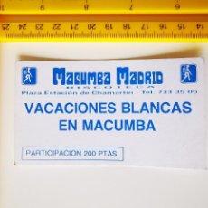 Biglietti di Concerti: FLYER INVITACION ENTRADA PASE DISCOTECA MACUMBA SPACE DANZOO MADRID VACACIONES BLANCAS. Lote 260651360