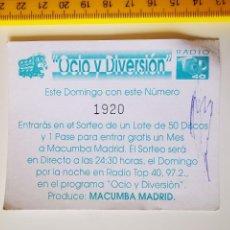 Biglietti di Concerti: FLYER INVITACION ENTRADA PASE DISCOTECA MACUMBA SPACE DANZOO MADRID PAPELETA SORTEO DISCOS. Lote 260671290