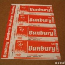 Bilhetes de Concertos: BUNBURY SET 4 ENTRADAS PRUEBAS DEL PROMOTOR BCN 1998 GIRA PROMOTER PROOFS HEROES DEL SILENCIO. Lote 261221260