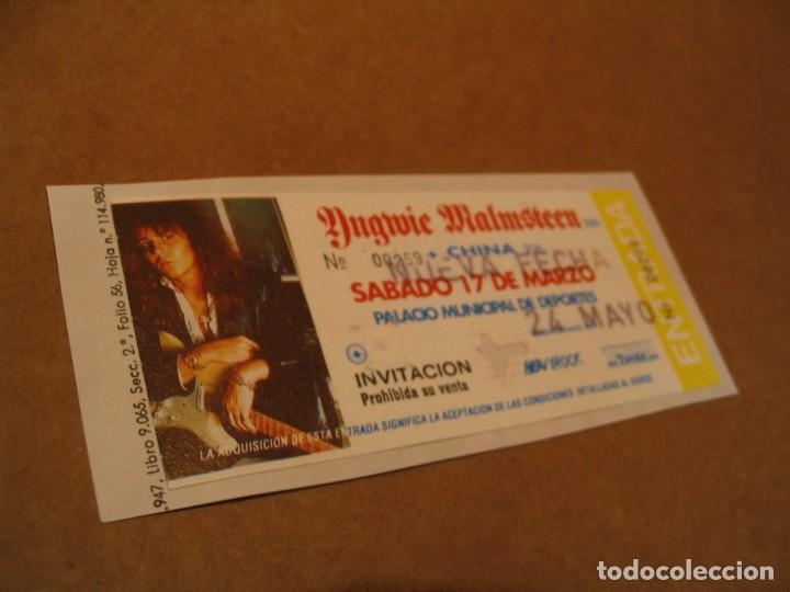 YNGWIE MALMSTEEN ENTRADA INVITACIÓN 1990 BCN GIRA TOUR ENGANCHADA GLUED 259 (Música - Entradas)