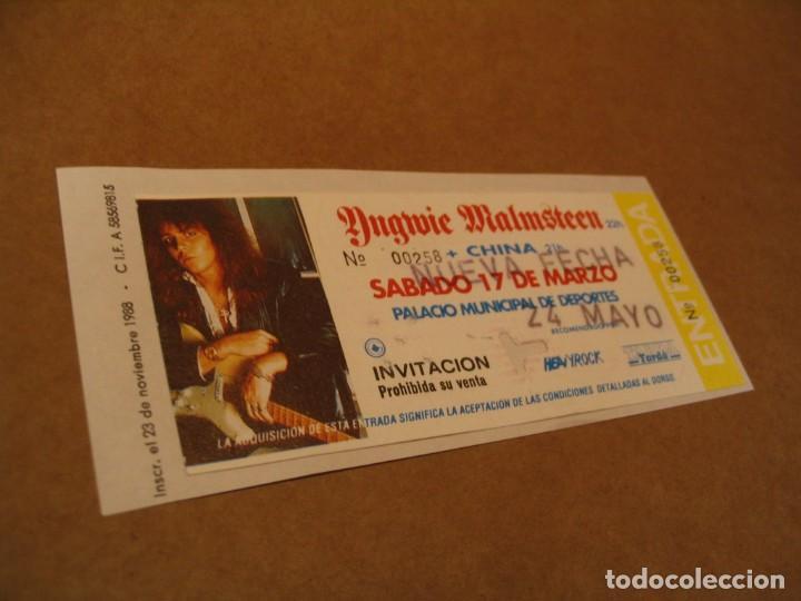 YNGWIE MALMSTEEN ENTRADA INVITACIÓN 1990 BCN GIRA TOUR ENGANCHADA GLUED 258 (Música - Entradas)