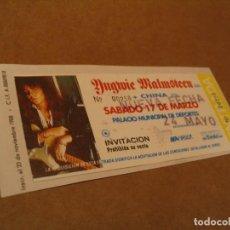 Entradas de Conciertos: YNGWIE MALMSTEEN ENTRADA INVITACIÓN 1990 BCN GIRA TOUR ENGANCHADA GLUED 258. Lote 262074800