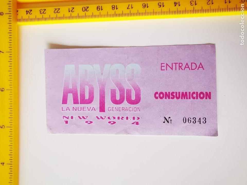 FLYER INVITACION ENTRADA DISCOTECA ABYSS MADRID NEW WORLD 1994 NUEVA GENERACION CONSUMICION (Música - Entradas)