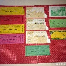 Entradas de Conciertos: FESTIVALES DE ESPAÑA - NOVELDA - AÑO 1973 Y 1974 - LOTE DE 11 ENTRADAS - DOÑA FRANCISQUITA Y OTROS. Lote 262347875