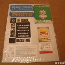 Entradas de Conciertos: MONSTERS OF ROCK IRON MAIDEN METALLICA LOTE 6 PASES + 2 ENTRADAS ESPAÑA 88 ENGANCHADO GLUED. Lote 262403660