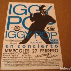 Biglietti di Concerti: IGGY POP FLYER OCTAVILLA MURCIA 1991 GIRA TOUR. Lote 262403985