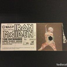 Billets de concerts: ENTRADA CONCIERTO IRON MAIDEN MAS WASP - 1986 - PALACIO MUNICIPAL DEPORTES BARCELONA. Lote 262864555