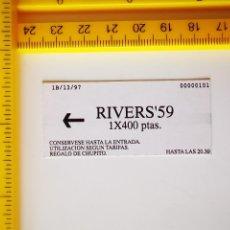 Entradas de Conciertos: FLYER INVITACION BILLETE METRO DISCOTECA RIVERS 59 MADRID RIVERS`59 FERNANDEZ DE LOS RIOS 59. Lote 263042005