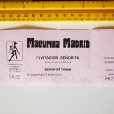 Entradas de Conciertos: FLYER INVITACION ENTRADA PASE DISCOTECA MACUMBA SPACE DANZOO MADRID SEÑORITA SESION TARDE. Lote 263042240