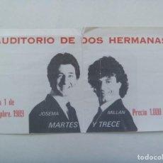 Entradas de Conciertos: ENTRADA MARTES Y TRECE , AUDITORIO DE DOS HERMANA , 1989. Lote 280946128