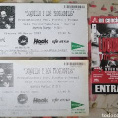 Entradas de Conciertos: LOTE 3 ENTRADAS LOQUILLO TROGLODITAS BARCELONA MADRID MÁLAGA. Lote 285598678