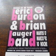 Billets de concerts: ENTRADA CONCIERTO ERIC BURDON MADRID 17 DE MARZO DE 1992. Lote 286143458