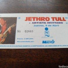 Billets de concerts: ENTRADA CONCIERTO JETHRO TULL MADRID 9 DE ABRIL DE 1992. Lote 286149508
