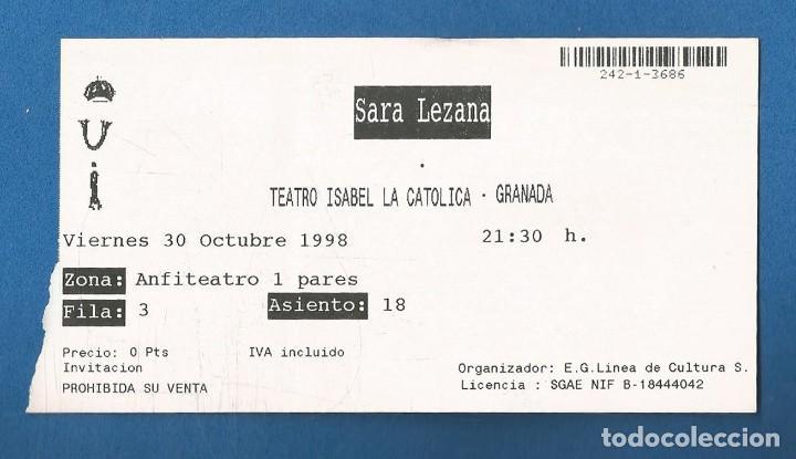 ENTRADA CONCIERTO SARA LEZAMA TEATRO ISABEL LA CATOLICA (GRANADA) 1998 INVITACION (Música - Entradas)