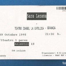 Entradas de Conciertos: ENTRADA CONCIERTO SARA LEZAMA TEATRO ISABEL LA CATOLICA (GRANADA) 1998 INVITACION. Lote 287111673