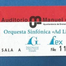 Entradas de Conciertos: ENTRADA INVITACION AUDITORIO MANUEL DE FALLA ORQUESTA SINFONICA AD LIBITUM 2015. Lote 287122823