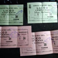 Billets de concerts: GRAN TEATRO DE LICEO - 4 ENTRADAS AÑO 1962 ( 2 NO UTILIZADAS ). Lote 288964888