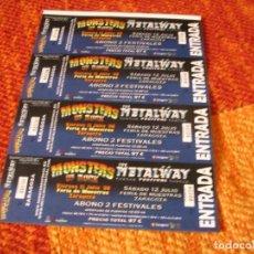 Biglietti di Concerti: METALWAY MONSTERS OF ROCK 4 ENTRADAS PRUEBAS DEL PROMOTOR ZARAGOZA 08 SIN NUMERAR PROMOTER PROOFS. Lote 289583238