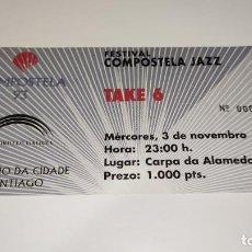 Entradas de Conciertos: 1021-ENTRADA CONCIERTO ORIGINAL FESTIVAL COMPOSTELA JAZZ TAKE 6 SANTIAGO 3 NOV 1993. Lote 292607763