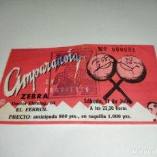 Entradas de Conciertos: 1021-ENTRADA CONCIERTO ORIGINAL AMPARANOIA DISCOTECA ZEBRA FERROL 11 DE JULIO 90S. Lote 292612063