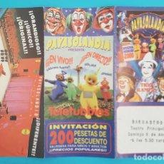 Entradas de Conciertos: TRIPTICO PAYASOLANDIA INVITACION GRAN GALA INFANTIL DEL MILENIO, TELETUBBIES, STAR WARS.... Lote 295349518