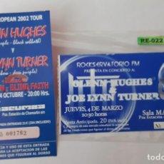 Entradas de Conciertos: 2 CONCIERTOS DIFERENTESDO DE GLEN HUGHES & JOE LYNN TURNER R-022. Lote 296593238