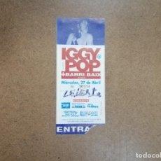 Biglietti di Concerti: ENTRADAS CONCIERTOS - IGGY POP , ROLLINS BAND, TANGERINE DREAM. Lote 296843128