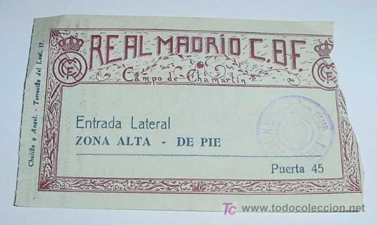 ANTIGUA ENTRADA DE FUTBOL 1948 - REAL MADRID ESTADIO CHAMARTIN . PARTIDO DEL 31.-10-1948 ENTRE EL RE (Coleccionismo Deportivo - Documentos de Deportes - Entradas de Fútbol)