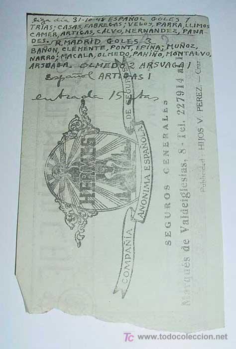 Coleccionismo deportivo: ANTIGUA ENTRADA DE FUTBOL 1948 - REAL MADRID ESTADIO CHAMARTIN . PARTIDO DEL 31.-10-1948 ENTRE EL RE - Foto 2 - 25616450