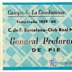 Coleccionismo deportivo: ENTRADA FUTBOL REAL MURCIA BARCELONA 1959-60 EFD3 , .. Lote 156522370