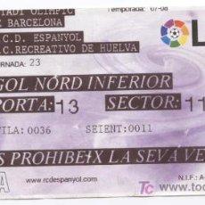 Coleccionismo deportivo: ENTRADA ESTADI OLIMPIC DE BARCELONA.PARTIDO RCD ESPANYOL - RECREATIVO DE HUELVA. Lote 7785768