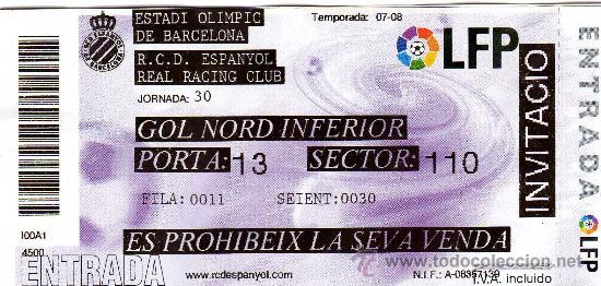 ENTRADA GOL NORD INFERIOR AL ESTADI OLIMPIC DE BARCELONA (RCD ESPANYOL - REAL RACING CLUB) - (Coleccionismo Deportivo - Documentos de Deportes - Entradas de Fútbol)