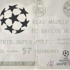 Coleccionismo deportivo: 4.9 ENTRADA DE FUTBOL REAL MADRID BAYERN DE MUNICH ESTADIO BERNABEU UEFA CHAMPIONS LEAGUE 3-5-2000. Lote 36171378