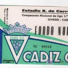 Coleccionismo deportivo: ENTRADA DE FUTBOL OVIEDO - CADIZ C.F. CAMPEONATO NACIONAL DE LIGA 1ª DIVISION. Lote 13626033