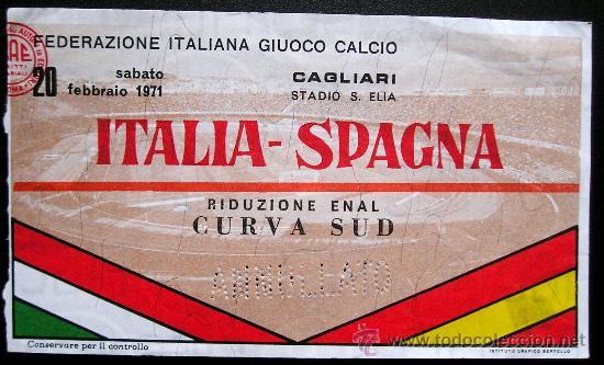 ANTIGUA ENTRADA FUTBOL ITALIA - ESPAÑA 1971 (Coleccionismo Deportivo - Documentos de Deportes - Entradas de Fútbol)