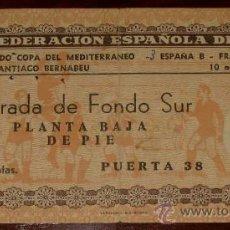 Coleccionismo deportivo: ENTRADA DE PARTIDO DE FUTBOL - 10 NOVIEMBRE 1955 - PARTIDO COPA DEL MEDITERRANEO - ESPAÑA B 3, FRANC. Lote 26793502