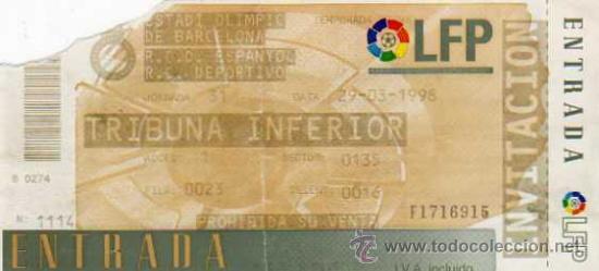 RCD ESPAÑOL - ENTRADA ESTADI OLIMPIC DE BARCELONA - RCD ESPAÑOL - RC DEPORTIVO , 1998 (Coleccionismo Deportivo - Documentos de Deportes - Entradas de Fútbol)